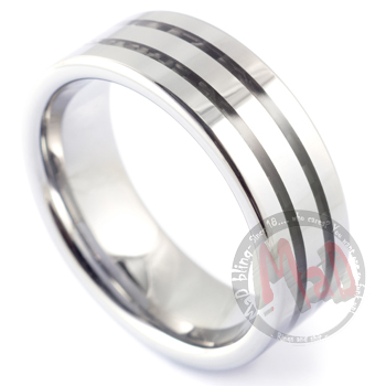 Funk Band Double Tungsten Carbon Fibre Ring