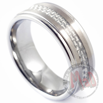 White Angel White Carbon Fibre Tungsten Ring