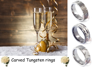 Carved tungsten rings